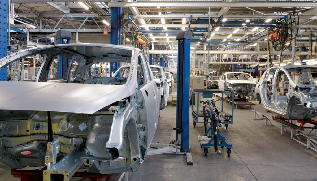 UK car manufacturing plant assembly line